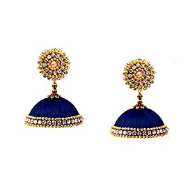 Youth Dark Blue Silk Thread Jhumka Earrings for Women