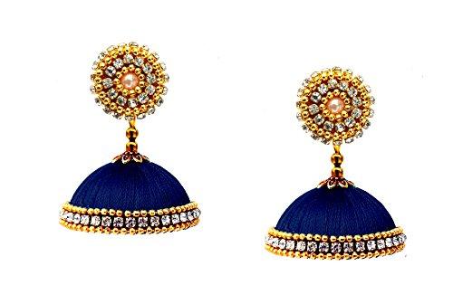 Youth Dark Blue Silk Thread Jhumka Earrings for Women