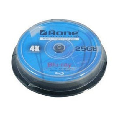 Aone BD-R Blu-ray 4x White Inkjet Printable Discs - 25GB - 10 Pack