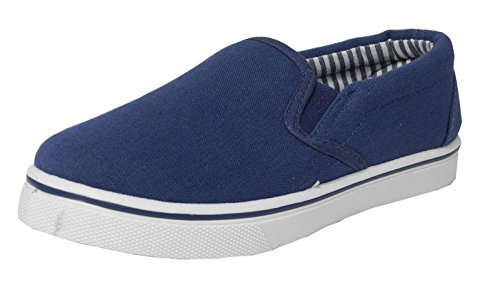 Boys Girls Childs Kids Canvas Boat Yachting Deck Shoes Slip On Pumps Blue Size 2