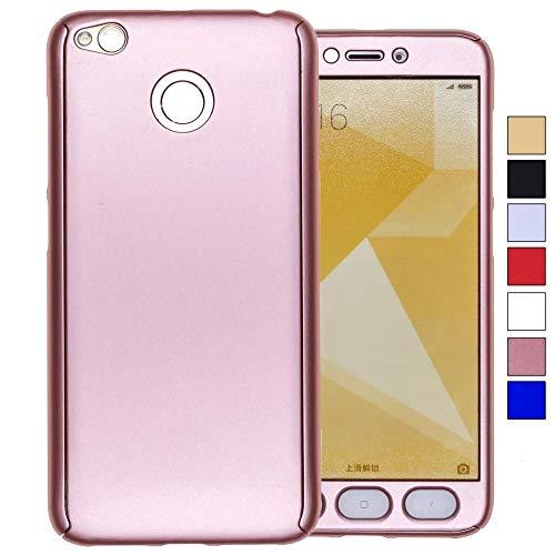 COOVY® Cover für Xiaomi Redmi 4X 360 Grad rundum Bumper Case, Ultra dünn und leicht, mit Displayschutz, Fullbody-Hülle | Farbe Rosegold - 4 Defender Case