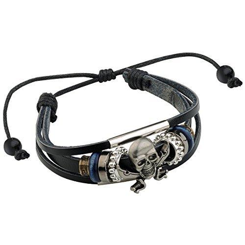 Merdia Herrenkette aus echtem Leder Armband Armband Totenkopf verstellbar mit Viking Stil Schwarz 10G