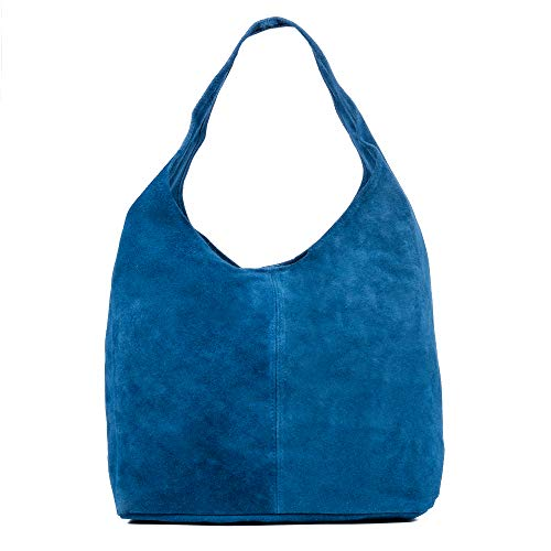 FIRENZE ARTEGIANI. Zaira Bolso de Hombro Mujer.Piel auténtica Gamuza .Bolso Shopper.Bolso Hombro Mujer.Made in Italy. Vera Pelle Italiana.37x18x35 cm. Color: Azul Vaquero