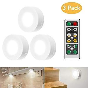 iKALULA Schrankleuchten LED mit Fernbedienung, Schrank Lichter 3 Stück Schrankbeleuchtung LED Nachtlicht Kabinett Beleuchtung LED Schranklicht für Schlafzimmer, Kleiderschrank, Kabinett, Küche - Weiß