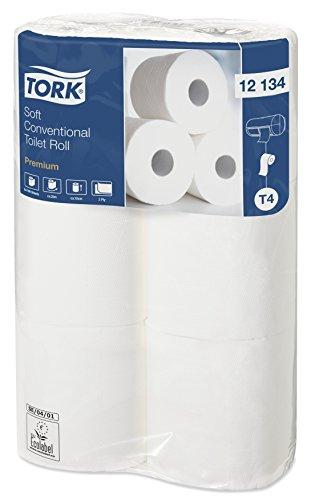 Tork 12134 weiches Kleinrollen Toilettenpapier in Premium Qualität für Tork T4 Kleinrollensysteme/WC-Papier 2 lagig/extra weich und reißfest, 16 x 6er Pack (6 x 198 Blatt)