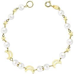Alda Joyeros Pulsera Sarai oro 18K con perlas 16cm - 1ª comunión niña