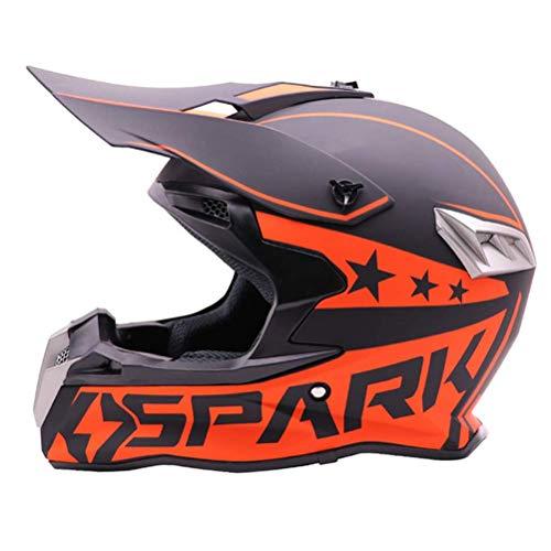 ZGYQGOO Motorradhelm Helm mit Brillenhandschuhen Maske Helmnetz, Schwarz/Rockstar, Motorradhelm für Erwachsene Männer Frauen