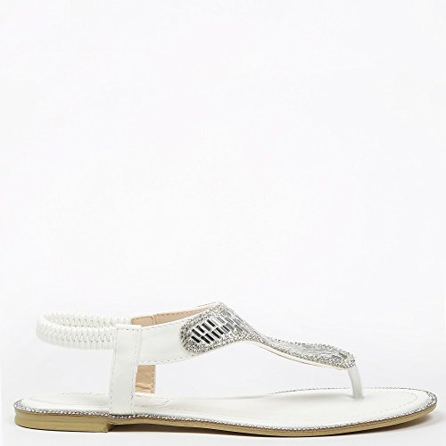 Ideal-Shoes Sandali piani Maelyn, decorate con strass Bianco (bianco)