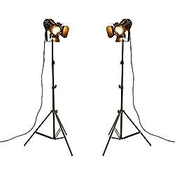 YUENSLIGHTING Industrial Vintage LED Lámpara de pie No regulable Full Spectrum Luz natural de pie con trípode Cuello de cisne para sala de estar Dormitorio de coser Office Bar Lighting Paquete de 2