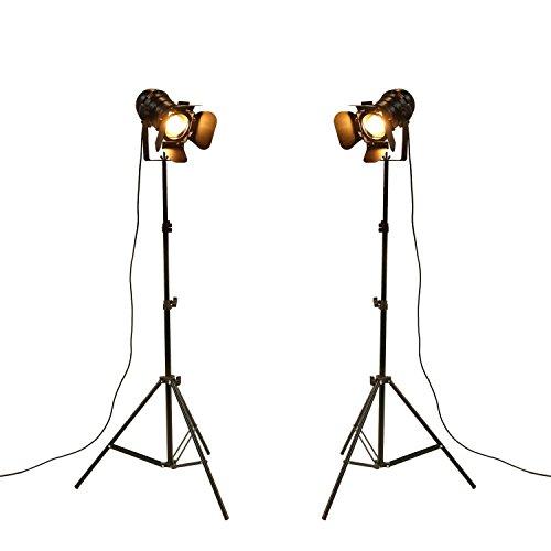 YUENSLIGHTING Industriel Vintage LED Lampadaire Pas Dimmable Full Spectrum Lumière Naturelle Lumière du Jour avec Trépied Col de Cygne pour Salon Chambre à Coucher Bureau Éclairage Bar Pack de 2