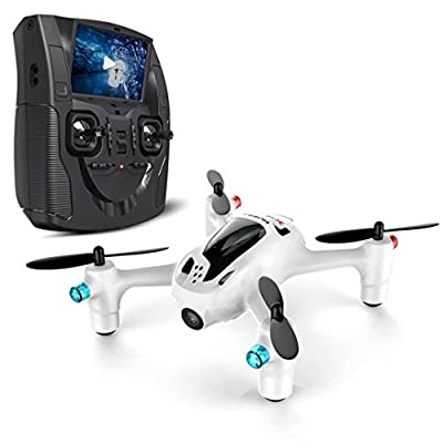 Hubsan H107D + 5.8G FPV X4 Plus FPV Quadcopter 6 Axis Gyro RC Altitude – Keeps the headless Mode One Key Return Drone with HD Camera – World's Smallest Lcd Monitor FPV Remote Control FPV Quadcopter 109 mm x 94 mm x 37 mm White