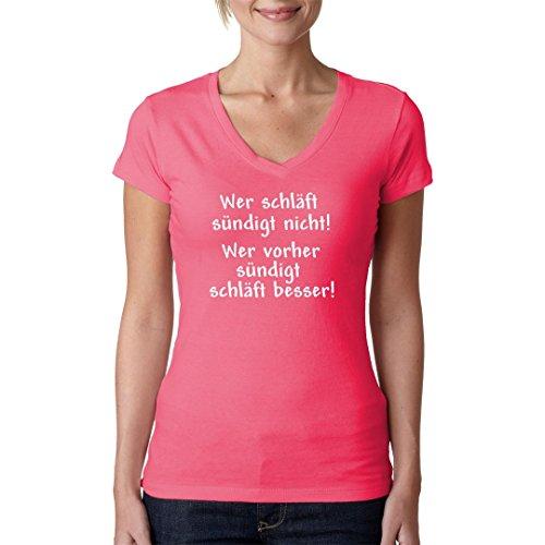 Fun Sprüche Girlie V-Neck Shirt - Wer schläft, sündigt nicht by Im-Shirt Light-Pink