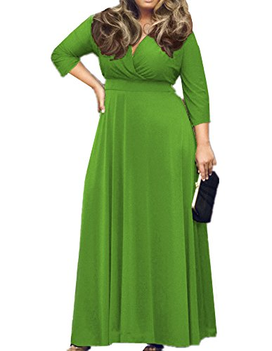 ASCHOEN Damen Abendkleid 3/4 Langarm Langkleid Einfärbig V-Ausschnitt Oversiez Kleid Grün