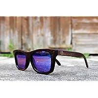 Wooden Wayfarer Sunglasses By Paul Ven, blue mirrored lenses