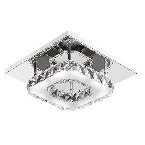 Lámpara de techo de cristal moderno, Beautihome Square Lámpara de te