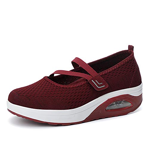 YPPDSD Womens Running Sportschuhe, Mary Janes Mesh Sneakers Slip-On Trainer Laufschuhe Bequeme Plattform Loafers Keil Schuhe,Red,37 - Red Womens Keil