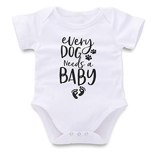 YCQUE Geschenk FüR Mama Und Papa SüßE Neugeborene Baby MäDchen Jungen Brief Drucken Strampler Baumwolle Weiche Bodysuit Outfits Kleidung: Jeder Hund BenöTigt Einen Baby-Kurzarm Body Done Babybody