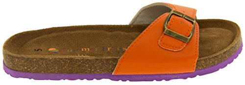 Coolers YF07061 Faux Cuir Sangle Boucle Sandales Mules Femmes Orange