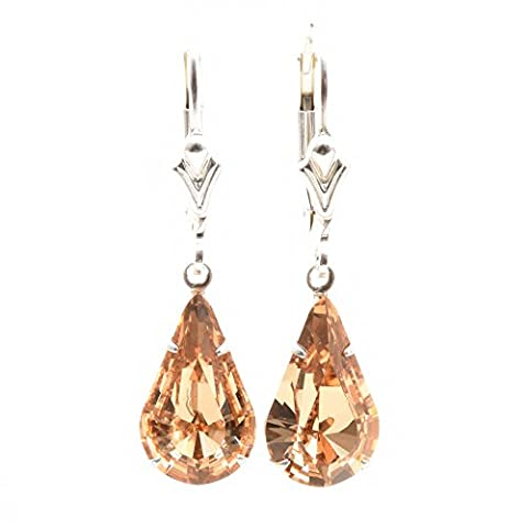 pewterhooter 925 Sterling Silver lever back earrings expertly made with teardrop Light Colorado Topaz crystal from SWAROVSKI® for