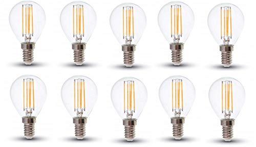 V-TAC LED filamento P45 bombillas - 10 unidades - E14/SES/rosca Edison