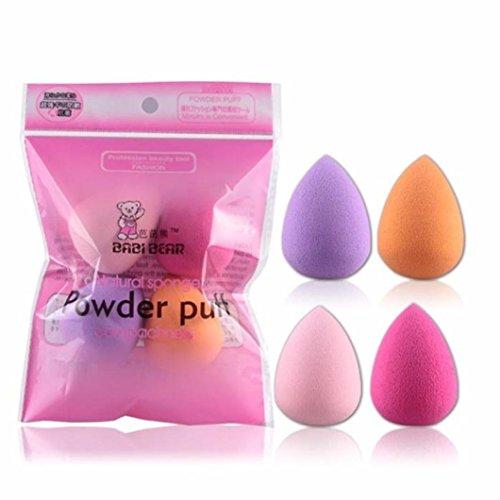 Outflower 4Pcs Beauty Makeup Powder Puff Humide Les Outils de Beauté Sèche Forment de Nouvelles éponges(Couleur aléatoire