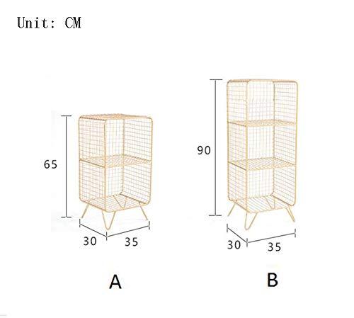 Zhanghongshop Nordic Einfache Schlafzimmer Lagerregal Schmiedeeisen Rost Rack Nacht Wohnzimmer Multi-Layer-Magazin Boden Bücherregal (Color : White, Size : D) -