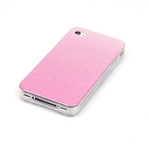 Coque iPhone 4S, Étui iPhone 4, iPhone 4S/iPhone 4 Case, ikasus® Coque iPhone 4S/iPhone 4 Silicone Étui Housse Téléphone Couverture TPU avec Dégradé de couleur Modèle de diamant brillant paillettes bl Rose