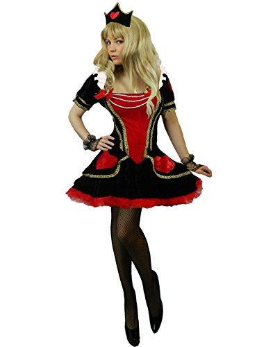 Gras Mardi Kostüm Queen Für Erwachsene - Yummy Bee - Alice im Wunderland Karneval Fasching Königin der Herzen Samt Kostüm + Handschuhe Krone Damen Größe 34 - 50 (36-38)