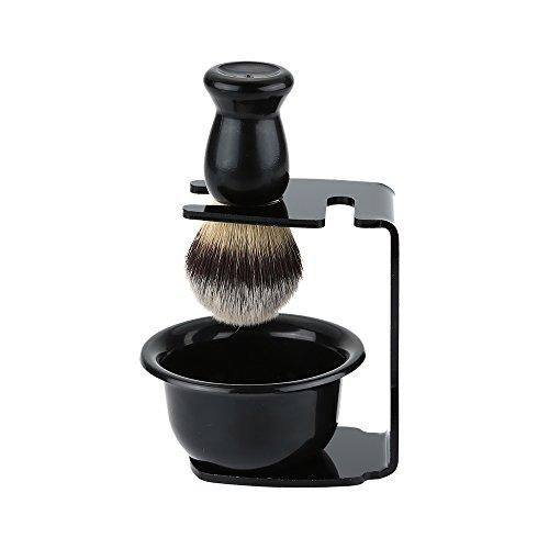 Anself 3 In 1 Shaving Brush Kit Shaving Frame Base + Shaving Soap Bowl + Hair Shaving Brush Shaving Cleaning Tool