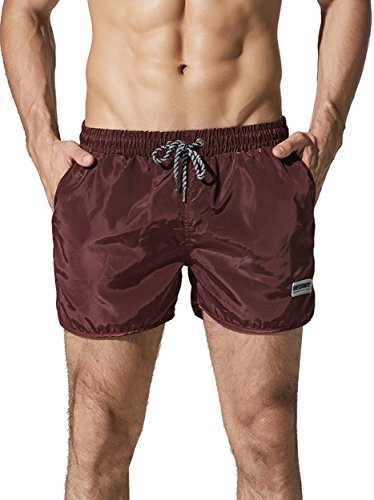Neleus Herren Short 708# Burgundy & Red