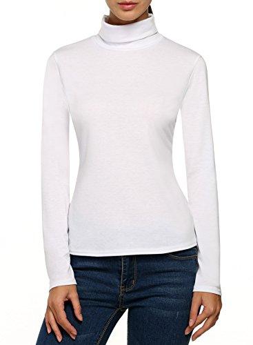 Zeagoo Damen Rollkragen Basic Slim Fit Shirt Langarmshirt Top Bluse (Rollkragen-weiß Kleidung)