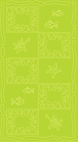 SO MY HOME - Toalla de playa de terciopelo, algodón puro, talla XXL 100 x 200 cm, diseño de tortugas, algodón (Verde)