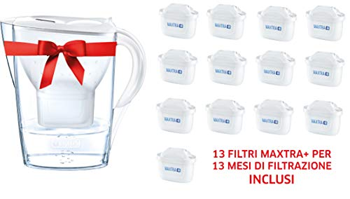 Brita kit marella con 13 filtri maxtra+ - caraffa filtrante per acqua, capacità 2.4 l, bianca, 13 filtri maxtra+ inclusi
