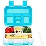 Bento Lunch Box für Kinder, Auslaufsicher Brotdose mit 5 Fächern für Schule Mittagessen, Snack, Frischhaltedose Spülmaschinen und Mikrowelle Geeignet, 800 ml, Blau
