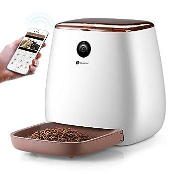 Distributeur Croquettes pour Chat / Chien avec WIFI Caméra HD 1080p Houzetek Distributeur électronique de Croquettes pour Animaux Chiens et Chats Messagerie Vocale Vision Nocturne 3.3L