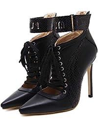 11.5cm Scarpin Ankle Bootie Bottes de mode Femmes Mode Pointe Toe Hollow Shoelace Bracelet Velcro Pure Color Court Bottes 2017 Automne et Hiver New Eu Taille 35-41