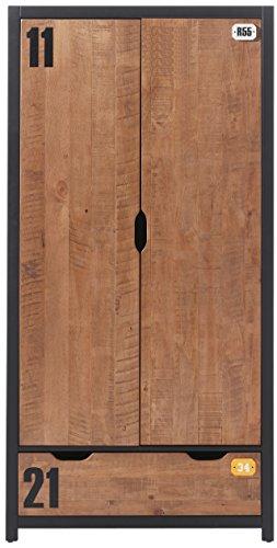 'Autobett axkl1219Alex Schrank 2Türen Kiefer massiv natur 100x 55x 200cm