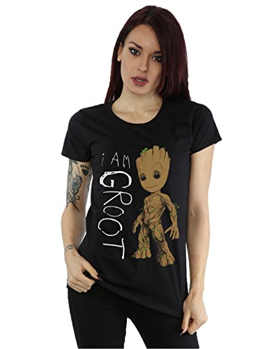 Marvel Women's Guardians of the Galaxy I Am Groot Scribbles T-Shirt Small Black