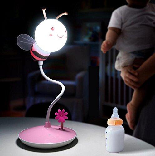 Flikool Rechargeable Abeille LED Lumiere de Nuit Pliable Flexible Lampe de Chevet Veilleuse Lampe Dimmable 3D Lampe de Bureau Lampe de Table - Pink