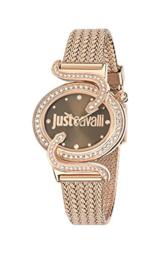 Just Cavalli Sin Women's Quartz Watch with Brown Dial Analogue Display and Pink Stainless Steel Strap R7253591506