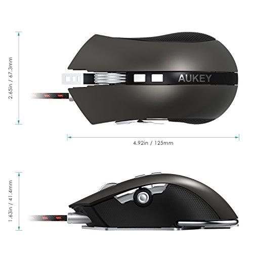 AUKEY Ratón Gaming con Interruptor Omron, 8 Botones Programables, 4 Niveles de Ajustables DPI, y Peso Opcional RGB Ratón Óptico para Ordenador y Portátil