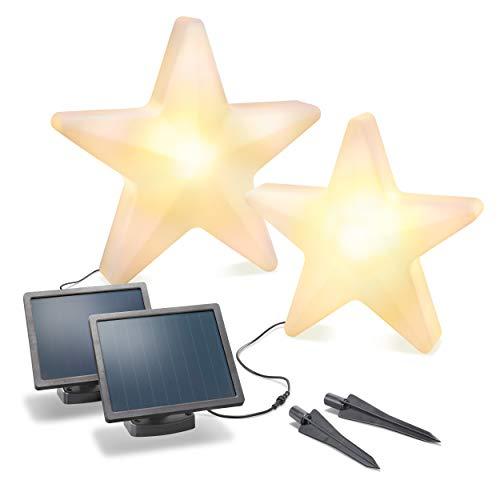 Dekoratives Solar Leuchtstern Set - Größe 40 & 60cm - Lichtfarbe jeweils zwischen warmweiß & kaltweiß umschaltbar - Dauerlicht - extragroßes 2W Solarmodul - Weihnachtsdeko Winterdeko esotec 102119