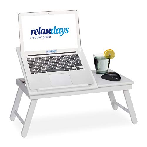Relaxdays Bambus Laptoptisch, aufstellbare Ablage für Buch & Laptop, klappbar, mit Schublade, HBT: 24 x 60 x 35 cm, weiß