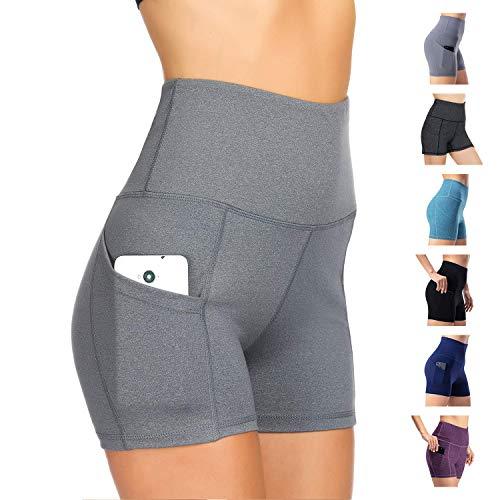 WateLves Damen Hohe Taille Yoga Sporthose Shorts Capri Fitness Dünne Hosen Schnell Trocknende Trainieren Mit Taschen Elastische Tanzen Workout Leggings(Hellgrau, XL) -