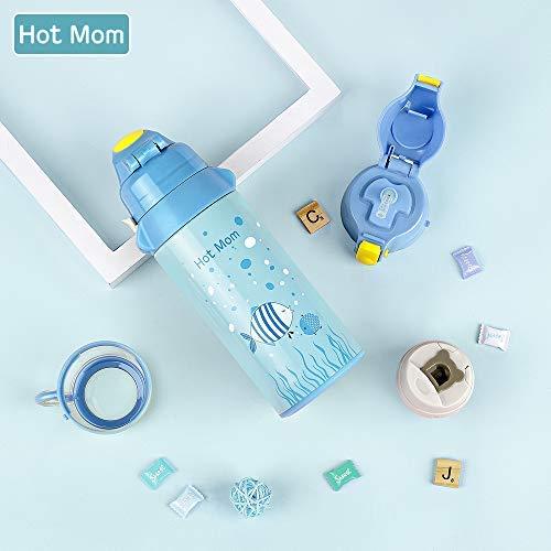 Hot Mom Thermo-Wasserflasche Vakuum Isolierte Flasche für Babys aus hochwertigem Edelstahl, Blue