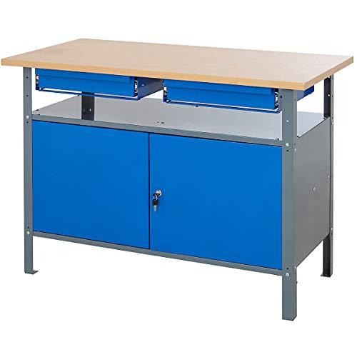 Certeo Werkbank mit Schubladen und Schranktüren | HxBxT - 830 x 1200 x 600 mm | Traglast bis zu 250...