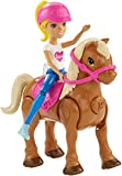 Barbie FHV63 On the Go Puppe (Blond) & Hellbraunes Mini Pony mit Pinkfarbenem Sattel