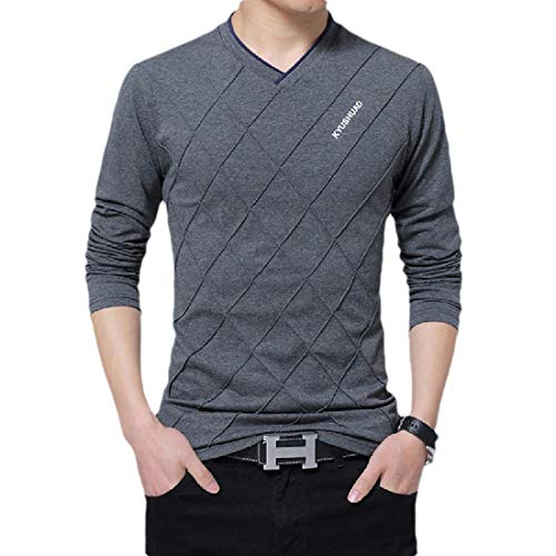 CuteRose Mens V-Neck Plus Size Long Sleeve Letter Printed Blouse T-Shirt Tops Dark Grey 3XL -