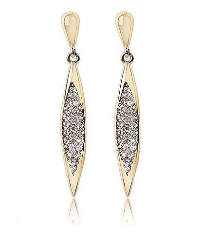 Gold Überzogen Swarovski Elements Kristall Lang Raute Tropfen Ohrringe für Damen