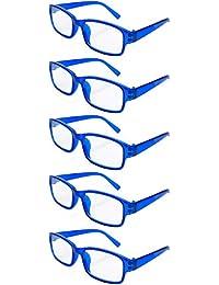 faa333a839c02 4sold Gafas de Lectura Presbicia Vista Cansada - (Pack 5) Graduadas fde 0.5  a 4.00 Dioptrías Montura de Pasta Azul Marrón Negra…